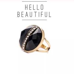 Black Faceted Crystal Pavé Vintage Cocktail Ring!